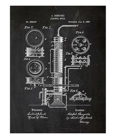 Black 1880 Alcohol Still Patent Art Screen Print #zulily #zulilyfinds