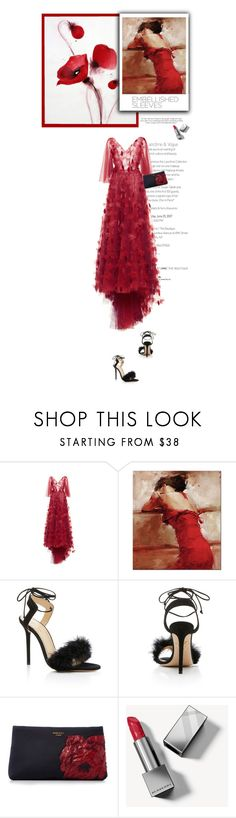 """""""Embellished Sleeves"""" by jan31 ❤ liked on Polyvore featuring LUISA BECCARIA, Charlotte Olympia, Paule Ka, Victoria Beckham, Burberry, red, Heels, clutches, Gowns and embellishedsleeves"""