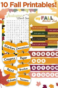 Great fall printables for the classroom, home & office