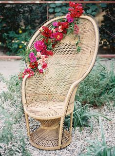 Found Rentals Peacock chair decorated with flowers by Hello Gem | Photography by Mike Radford