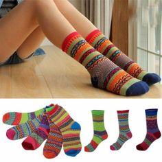 Fashion-Damen-Herren-Vintage-Design-Baumwolle-Socken-Bunt-Mode-Socke-Winter-Warm
