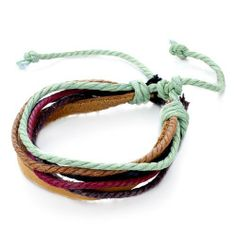 Pugster Multi-Strand Leather Colorful Jute Rope Bracelet Pugster. $6.79. Weight (gram): 5. Metal: Leather. Size (mm): 210*5.63*2.5. Color: Colorful