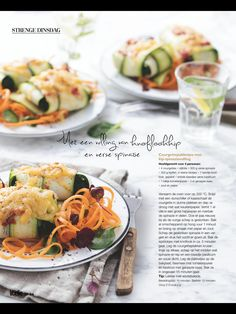 Courgette kip spinazie. Uit de Libelle van foodsisters Fresh Rolls, Cantaloupe, Clean Eating, Low Carb, Meat, Chicken, Dinner, Fruit, Healthy