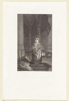 Reinier Vinkeles | In een kerk daalt een vrouw af in een graf, Reinier Vinkeles, 1789 |