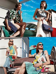Prada S/S 12  Steven Meisel – Photographer | Katryn Kruger, Meghan Collison, Elise Crombez, Guinevere Van Seenus, Natasha Poly, Ymre Stiekema – Models    Vintage glamour is a theme that has been run into the ground, but Meisel and Miuccia make it feel fresh. Hot rods and hot girls, the bluer than blue sky, those flame embellished accessories; it all came together to create a mood that was powerful and chic.