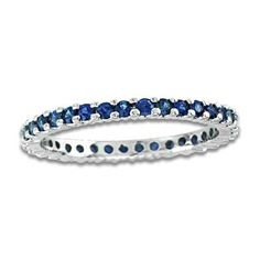 Zales - Blue Sapphire Eternity Band in 14K White Gold