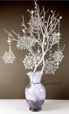 Centerpiece using Snowflake Crystal Garland Chain Strands (Center Pieces)winter wonderland table centerpiece ideas holiday centerpieces for corporate party best winter wonderland centerpieces ideas on winter winter wonderland decorations and winter w Snowflake Centerpieces, Snowflake Garland, Christmas Table Centerpieces, Xmas Decorations, Snowflake Party, Snowflake Wedding, White Snowflake, Wedding Centerpieces, Centerpiece Ideas