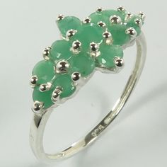925 Sterling Silver Genuine EMERALD Gemstones Chunky Ring Size US 7 ! Love Gift #Unbranded