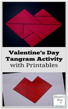 Valentine's Day Tangram Activity with Printables - This is part of a set that features printable Valetnine's Day with a small set of tangrams, a large set of tangrams, and a heart shaped pattern mat.