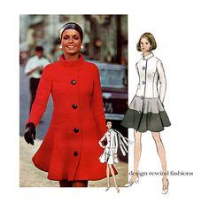 1970s VOGUE 2289 DRESS PATTERN Pierre Cardin Vogue Paris Original Fit & Flare Coat Dress with Standing Collar at DesignRewindFashions Vintage & Modern Sewing Patterns on Etsy