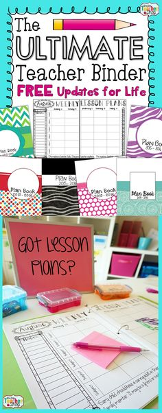 This One Stop teacher binder has everything you need for classroom organization. Lesson plan templates, numerous planner covers, lots of printables, and calendars are just the beginning. This teacher planner has FREE updates for LIFE and is editable.TONS of extras!
