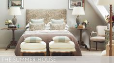 Whether you're creating a bedroom for yourself or for guests, take time to think how the room will be used. In a house full of people it can be invaluable to have a private space to retreat to, so a comfortable armchair positioned next to a reading lamp is welcome idea. Make the bed as inviting as possible with plenty of pillows, cushions and throws and, where possible, provide storage. #oka #summer #sleeping #bedroom