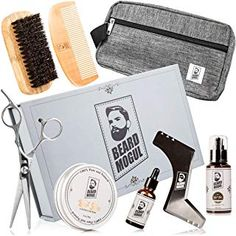 Beard Mogul Beard Grooming & Care Kit for Men - Beard Oil Beard Balm Beard Wash Beard Brush Beard Comb Barber-grade Beard Scissors Styling Shaping Tool Travel Bag - $39.99 - 5.0 out of 5 stars - Beard Grooming - Gifts - 2019 Gift for Husband or Boyfriend Beard Wash, Beard Oil, Curling Iron Holder, Wall Mounted Makeup Mirror, Born This Way Concealer, Makeup Bag Organization, After Shave Balm, Beard Grooming, Beard Styles