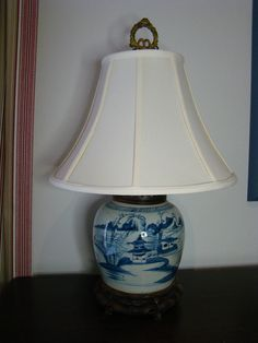 The jar alone is approx. Converted into a lamp with newer mahogany and brass lamp fittings. Ginger Jar Lamp, Ginger Jars, Brass Lamp, Country Furniture, Ocean Art, Lamps, Chinese, Blue And White, Interiors