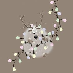 Oh Dear! Wayne's all tangled up in fairy lights... #christmas #cards #reindeer #sophiemorrell  http://www.sophiemorrell.com/collections/the-o-dears…