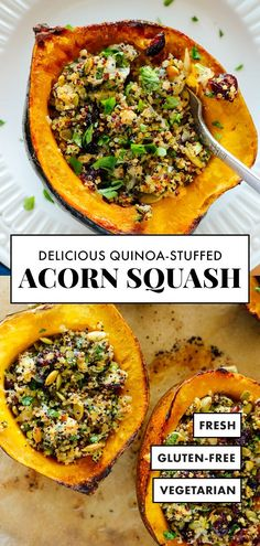 This vegetarian stuffed acorn squash recipe is beautiful AND delicious! The cheesy quinoa filling develops an irresistible crispy top in the oven. This is the perfect vegetarian main dish recipe to serve on the holidays! #acornsquash #quinoarecipe #vegetarian #glutenfree #cookieandkate