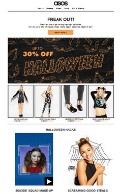 ASOS offer a discount and Halloween hacks in their email