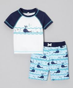 With a playful print that little dudes will love, this set is perfect for a day of sandcastles and splish-splashing in the surf. The trunks feature an easy-on, mesh-lined construction and the rashguard protects against intense rays and irritating sand, keeping beach bums comfy and content.
