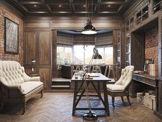 Vintage office for a private residence  Denis Krasikov - www.homeworlddesign. com (1)