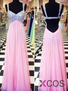 2015 Fashion A-line Sweetheart Backless Floor-length Chiffon Sequin Prom Dress CHPD-7327
