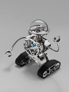 Luxury Swiss watch brand MB&F has partnered up with one of the best specialized clock manufactures to bring us the unordinary gold-plated Sherman Robot clock. The device tells time and looks very cute! Fine Watches, Cool Watches, Swiss Watch Brands, Most Popular Watches, Grand Art, Watch Blog, Must Have Items, Glass Domes, Precious Metals