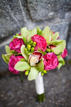 Lime Green Fushia Wedding Bouquet....I like the colors, but not the leaves and berries