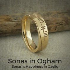 Ogham Sonas Wedding Ring Ogham is the ancient Irish alphabet. Ogham Sonas is Gaelic for Happiness. Inside of band is engraved with the word Happiness in English. Irish Wedding Rings, Wedding Rings Vintage, Gold Wedding Rings, Wedding Ring Bands, Alternative Engagement Rings, Stainless Steel Rings, Love Ring, Jewelry Rings, Rings For Men