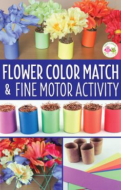 Make fun flower activities for kids with dollar store silk flowers. In addition to matching colors, making patterns, and a flower shop dramatic play kids these activities are great for working on fine motor skills. A perfect hands-on addition to your spring theme, flowers theme, Mothers Day theme, plant theme, or summer theme units and lesson plans. Appropriate for preschool, pre-k, kindergarten, prep math centers and math work stations. Fine motor centers, flower counting, gardens theme