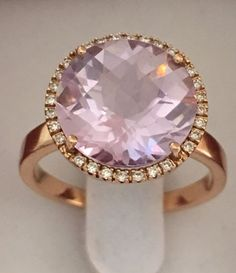 0efb514f1 No reserve - New collection made in Italy - elegant and robust cocktail  ring - rose gold of 18 kt/750 with morganite and diamonds of 9.20 ct and  17.50 mm of ...