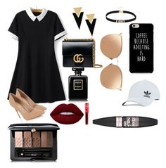 """""""Love❤"""" by nataliga ❤ liked on Polyvore featuring Lipsy, Gucci, Yves Saint Laurent, Linda Farrow, adidas Originals, Guerlain, Lime Crime and Maybelline"""