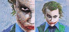 """Phil Vance utilise des phrases en rapport avec l'œuvre qu'il dessine. Pour illustrer le Joker, l'artiste a utilisé plusieurs stylos de couleurs qui lui ont permis de reproduire le portrait du célèbre ennemi de Batman en utilisant uniquement des citations du film """"The Dark Knight"""". En bref, Phil Vance a inventé un procédé artistique qui s'inspire librement du pointillisme,"""