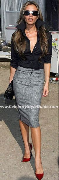 Victoria Beckham Style and Fashion - Roberto Cavalli Grey Plaid Skirt on Celebrity Style Guide