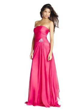 Click Image Above To Buy: Blush 9216, Floor-length Dress With Bandeau Top And Draping