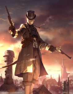Steampunk Gentleman I call him with dueling pistols found on ArtStation - Redesign Gabriel from LMS - AFC, Veli Nyström