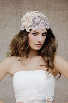 Blush lace veil cap by Gadegaard Design. Photocredit: www.tinaliv.com Model: Mira Obling