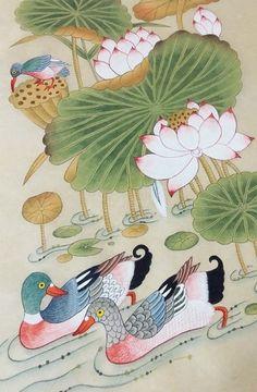 Tibet Art, Oriental, Lotus Painting, Korean Painting, Art Inspiration Drawing, Korean Art, Hindu Art, Crewel Embroidery, Chinese Art