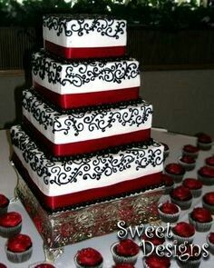 black white silver weddings | Black & White Wedding Cake with ...