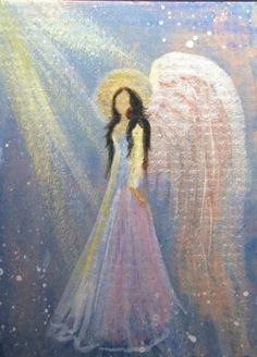 ACEO Cape Cod Artist Original Acrylic Painting Healing Angel with Metallic Shine