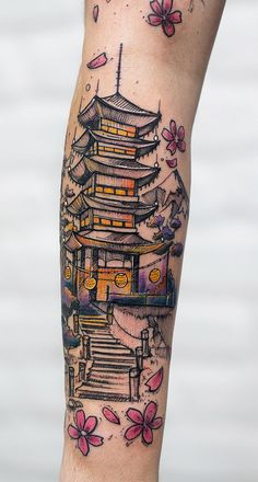 Robson Carvalho Turns His Beautiful Drawings Into Magical Tattoos - magical illustrative tattoo © tattoo artist Robson Carvalho ❤❤❤❤❤ - Japanese Temple Tattoo, Small Japanese Tattoo, Japanese Tattoos For Men, Japanese Tattoo Symbols, Traditional Japanese Tattoos, Japanese Tattoo Designs, Japanese Sleeve Tattoos, Wolf Tattoos, Tribal Tattoos