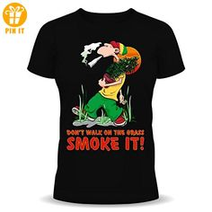 Joint - Rasta - Jamaica - Hanf - Fun T-Shirt - Don't walk on the grass smoke it! Größe M - T-Shirts mit Spruch | Lustige und coole T-Shirts | Funny T-Shirts (*Partner-Link)