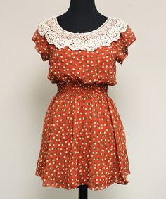 Another great find on #zulily! Red & White Lace Floral Cap-Sleeve Dress #zulilyfinds