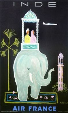 French travel poster features a carriage on an elephant with a couple in native dress between a palm tree and a tower.The beautiful Vintage Poster Reproduction is perfect for an office or living room. Air France India 1956 France poster print by Villemot.