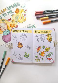 How to Draw Fall Leaves with & dibujos a lapiz faciles Draw Fall Leaves and make a cute Autumn Illustration Bullet Journal Mood, Bullet Journal Ideas Pages, Bullet Journal Inspiration, Fall Drawings, Doodle Drawings, Doodle Art, Leaves Doodle, Draw Leaves, Leaf Drawing