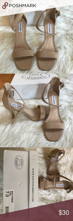 Steve Madden bayyside tan 7.0 Steve Madden bayyside tan size 7.0 thick strap heel Steve Madden Shoes Heels