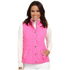 Lilly Pulitzer Blake Vest Women's Vest ($178) ❤ liked on Polyvore featuring outerwear, vests, pink quilted vest, pocket vest, pink vest, quilted vest and pink slip