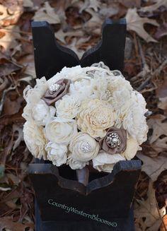 Wedding Bouquet Brooch Bouquet Rustic Bouquet Sola Bouquet by CountryWesternBlooms
