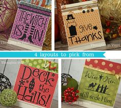 holiday plaques. LOTS of vinyl craft ideas.
