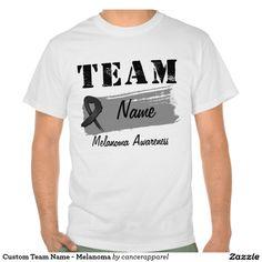 Custom Team Name Melanoma T Shirts by cancerapparelgifts.com