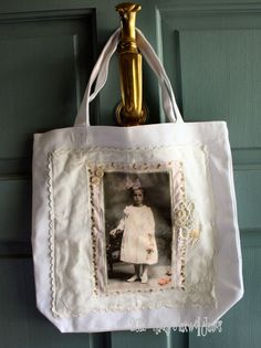 Sweet Rose Altered HANDMADE Collage Fabric Art Tote with Vintage Laces. $9.95, via Etsy.
