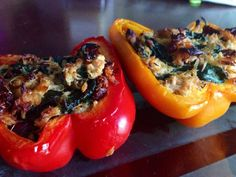 Chicken Stuffed Peppers with Spinach and Sun Dried Tomatoes